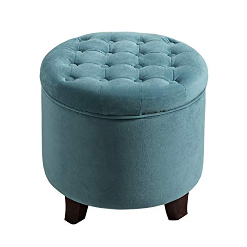 HomePop by Kinfine Fabric Upholstered Round Storage Ottoman - Velvet Button Tufted Ottoman with Removable Lid, Teal