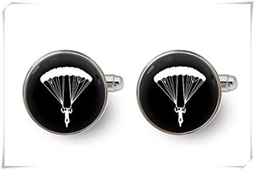 Parachutiste Cadeau Boutons de manchette pour homme – avec boîte cadeau, sport, boutons de manchette de mariage Boutons de manchette