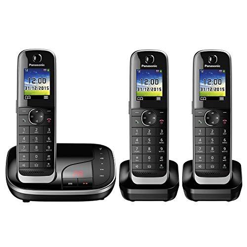 Panasonic KX-TGJ323GB Familien-Telefon mit Anrufbeantworter (schnurloses Telefon mit 3 Mobilteilen, strahlungsarm, Anrufschutz) schwarz