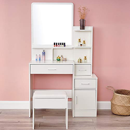 White Vanity Table Set with Mirror Dressing Desk Vanity Makeup Table with Stool and Drawer (3 Drawers and a Door)