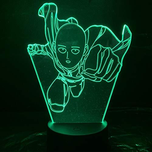 Zhongkaihua One Punch Man 3D Luz de Noche Luz de Dormir Anime Saitama Figura Niños Niños Mesa Lámpara de Escritorio para Hogar Luz de Noche Fresca Manga Tienda Decoración Ideas Mesa Luz 16 Colros