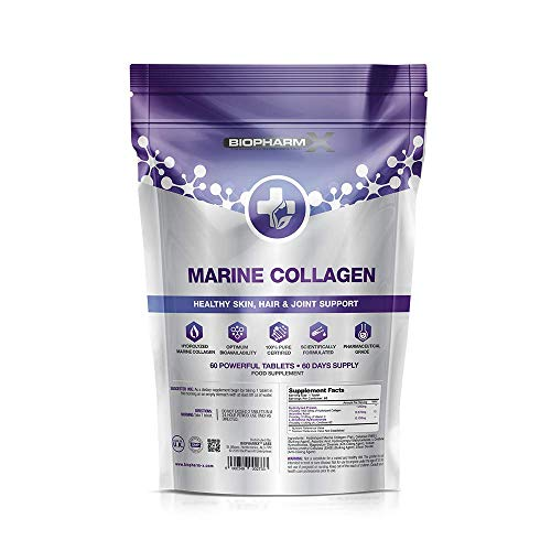 Marine Collagen 1000mg Tablets + Vitamin C (2 Month Supply / 60 High Strength Capsules) Type 1 Hydrolysed Collagen for Skin, Hair, Nails and Joints
