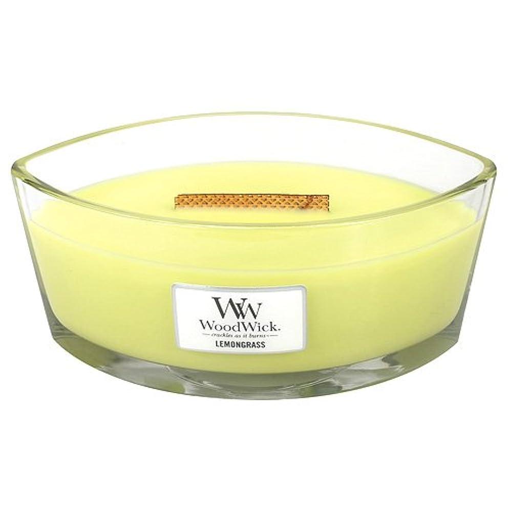 グロー寄付するレモングラスHearthWick Flame Large Scented Candle by WoodWick