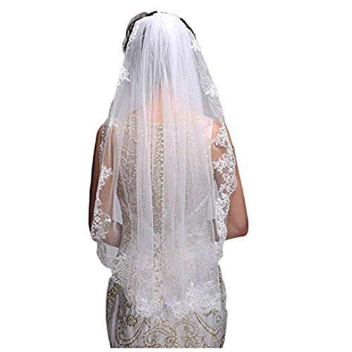Simple Elegent Lace Appliques Wedding Veil With Bridal Veils Comb (Ivory)