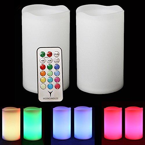 Frostfire Candele– 2 candele impermeabili esterne che cambiano colore, con telecomando e timer