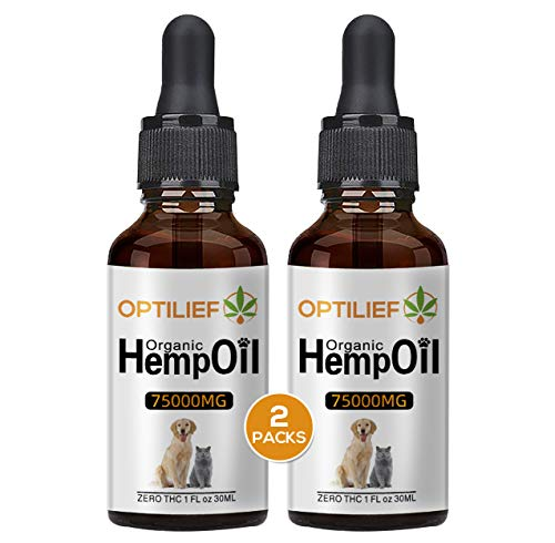 75000mg Hemp Oil for Dogs - Separation Anxiety, Joint Pain, Stress Relief, Arthritis, Seizures, Calming Dog Treats - Organic Hemp Seed Oil Extract