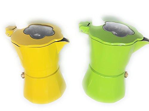 Espressokocher Moka 1Tasse bunt gelb oder grün nach Verfügbarkeit '