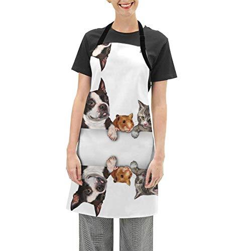N\A Perros Gatos Delantal de Conejillos de Indias Delantal de Cocina Delantal de Cocina Ajustable Impermeable Delantal de Hornear para Mujeres Hombres