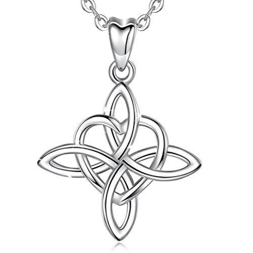 """INFUSEU 925 mujeres collar de plata de ley, Infinito Amor sin fin irlandesa celta colgante del nudo de amor con la cadena 18"""" encanto de joyería, regalos para damas"""
