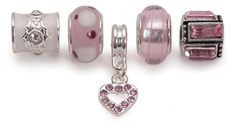 Bling Rocks Liberty Charms Pink Silver Plated Charm Bead Set of 5 for Charm Bracelets Gift Wrapped
