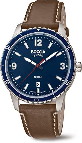 Boccia Herren Analog Quarz Uhr mit Echtes Leder Armband 3635-02