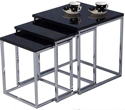 Modern 3 Nest of Table Black High Gloss Sets Sofa Coffee Table Living Room Furniture Sofa Side Table End Table (Black)