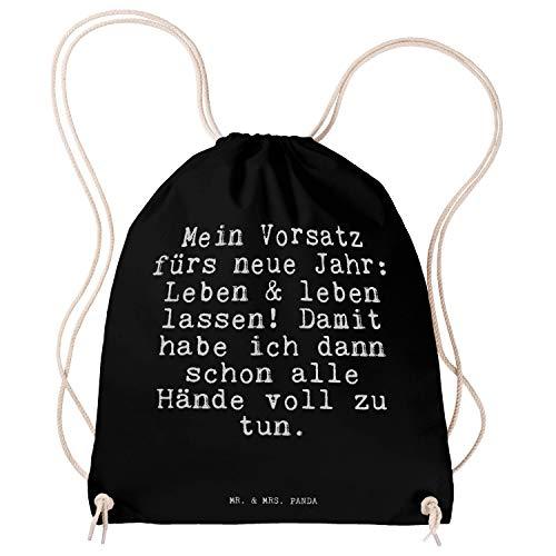 Mr. & Mrs. Panda Sportbeutel mit Spruch Mein Vorsatz fürs Neue Jahr: Leben & Leben Lassen! Damit Habe ich dann Schon alle Hände voll zu tun.