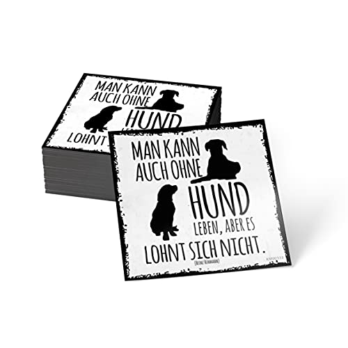 how about tee? Magnet-Sticker: Man kann auch ohne Hund Leben, Kühlschrankmagnet mit Spruch