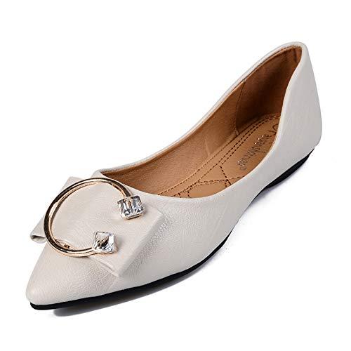 LYXIANG Ballerinas pour Femmes, Chaussures Dolly Grande Taille Chaussures Femme Modé Toe Simple Chaussures Femmes Spring Spondreful Chaussures Plat Soleil Soleillée,Blanc,39