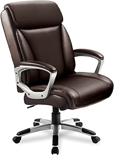 ComHoma Executive Office Chair Computer Desk Chair High Back Comfortable Ergonomic Managerial Chair Adjustable PU Leather Home Office Rocking Desk Chair Heavy Duty Swivel Brown