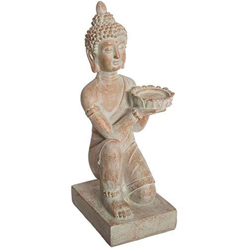 Hogar y Mas Buda Sentado Decorativo Resina, Figuras Decoración de Interior o Exterior. Buda Porta-Velas Blanco 43x15x19,5cm