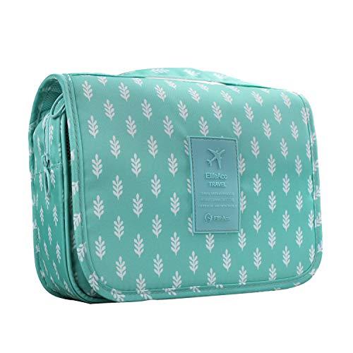 ElifeAcc Hanging Travel Toiletry Bag Folding Bathroom Organizer Portable Cosmetic Wash Bag for Women Girls Blue Tree