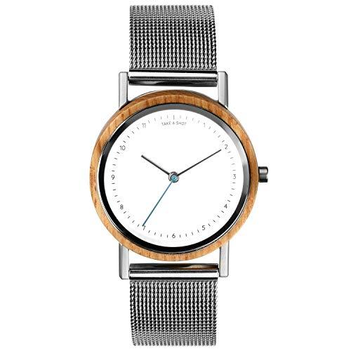 TAKE A SHOT Holzuhr - Kleine Holz Armbanduhr für Damen mit silbernem Metall Armband, Analoge Quarz Damenuhr mit Gehäuse aus Holz, Durchmesser 30 mm - LIV MESH Silber