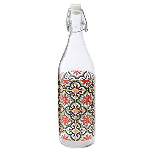 Baroni Home Botella de agua de cristal de mesa decorada con tapón hermético, fabricada en Italia, capacidad de 1 litro