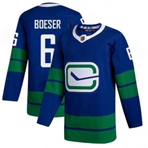 NHL Eishockey-Trikot Französisch Team Herren Langarm T-Shirt Training Kleidung # 53 Horvat 6 35# 40 gestickte Ice Jersey,Blue Green 6,XL=54