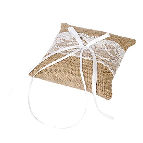 Sharplace Hochzeit Ringkissen Vintage Jute Spitzeblumen Rustikale - 15cmx15cm Farbe4