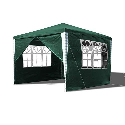 Hengda Pavillon 3x3m Wasserdicht Partyzelt UV-Schutz Gartenzelt Gartenpavillon mit 4 Seitenteilen Material PE-Plane für Party Festival Messestände
