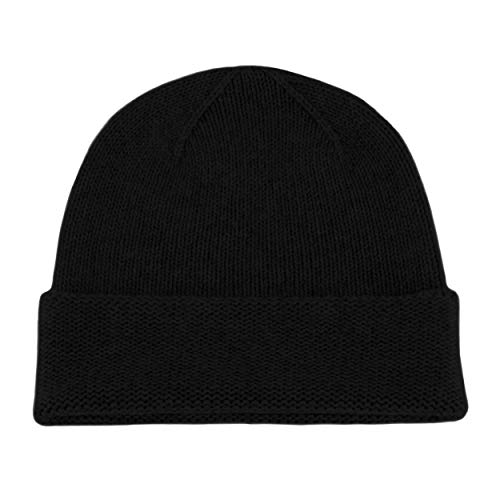 Love Cashmere Herren Beanie-Mütze aus 100 % Kaschmir, handgefertigt in Schottland, Schwarz
