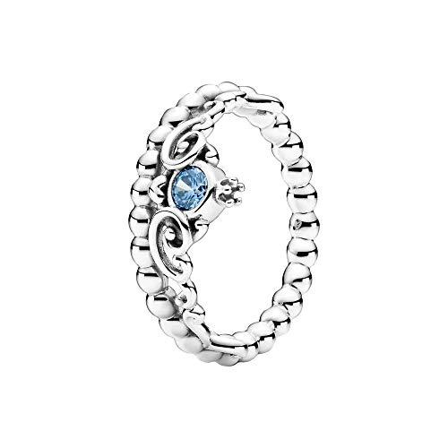 Pandora Disney Cenicienta Azul Anillo Tiara Anillo Plata de Ley 52