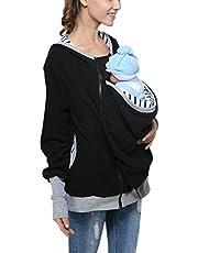 Yvonnelee draagjas voor mama en baby kangoeroejas omstandmode capuchon met draagfunctie zwart