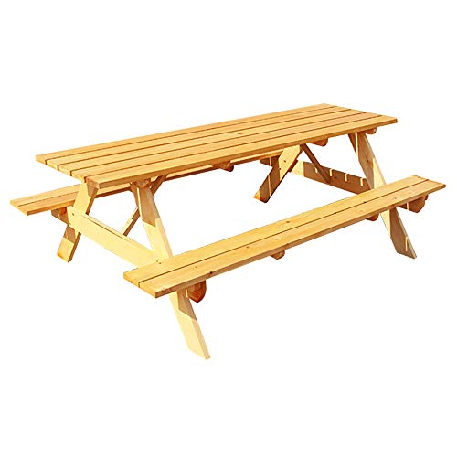 47-inch anticorrosive wood Outdoor Table and Bench Set, outdoor parasol patio patio solid wood conjoined dining table, used for garden bar patio picnic tables and benches