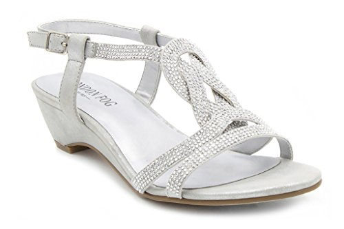 LONDON FOG Womens Macey Demi-Wedge Dress Sandals Silver 8 M US