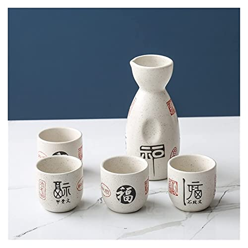 Japanese Sake Wine Warmer 1 Pot 4 tazas Cerámica Cerámica Cereza Flor de cerezo patrón Sake Pot amarillo Vino Taza Sake Pot Pot Elegante Regalo Fiesta de vacaciones Suministros Decoración copas vino J