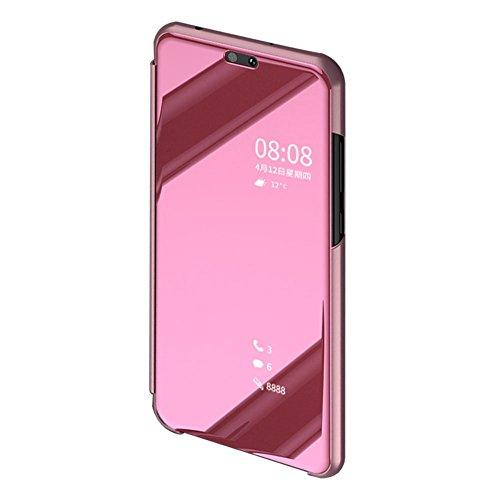 BCIT Xiaomi Redmi S2 Funda - Modelo Inteligente Fecha/Hora Ver Espejo Brillante tirón del Caso Duro con + película Protectora de Vidrio Templado para el Xiaomi Redmi S2 - Rose Oro