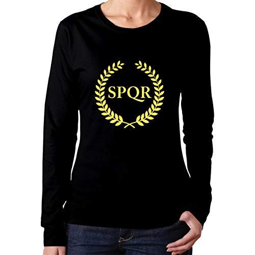 ZHENGLONG Camp Jupiter SPQR Girl's Slim Fit Long Sleeve Shirt Big Logo Black