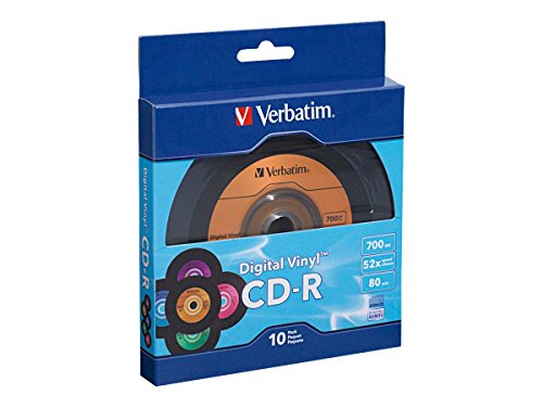 Verbatim CD-R 80min 52X with Digital Vinyl Surface - 10pk Bulk Box, Blue/Green/Orange/Pink/Purple - 97935