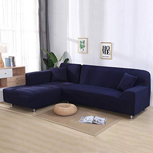 YYBF Fundas para sofá de Esquina Sofá en Forma de L Sala de Estar Sofá seccional Chaise Longue Spandex Funda de sofá Deslizante Fundas de sofá elásticas 2 Piezas, Azul Marino, 3 Asientos y 3 plazas