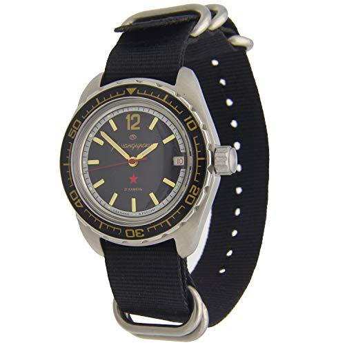 Vostok Komandirskie #020741 Automatic Mens Wristwatch Nato Black