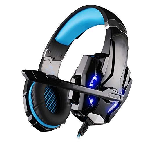 Big Shark Wired E-Sport hoofdtelefoon gaming headset voor PS4, PC, Mac, laptop met noise cancelling microfoon - surround gaming koptelefoon - zacht comfortabel over oor voor PS4 headset met LED-licht voor mannen,, Ooromsluiting., blauw