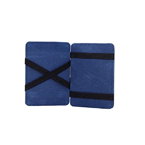 Portafoglio Magico in simili cuoio - magic wallet Credit Card Holder - porta moneta (Blu)