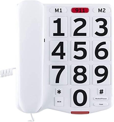 AXAXA Téléphone À Gros Boutons pour Personnes Âgées, Téléphones À Fort Volume Amplifié pour Malentendants, Téléphone Fixe De Bureau Filaire À Une Seule Ligne avec Grande Sonnerie Facile Et Très Forte