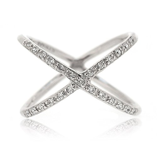 Sovats Damen CZ Kreuz-Ring, Größe 58