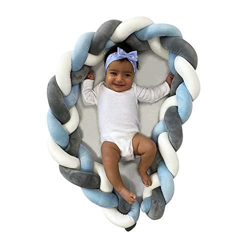 Malihaz Bettschlange geflochten - besonders weich geflochtene 200cm Baby-Bettumrandung fürs Babybett (BLUE)
