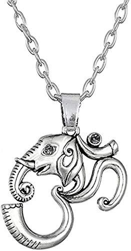 AOAOTOTQ Co.,ltd Collar hindú Ganesha Elefante Estatua Ajustable Cadena de eslabones Collares Colgantes joyería India Religiosa para Hombres y Mujeres
