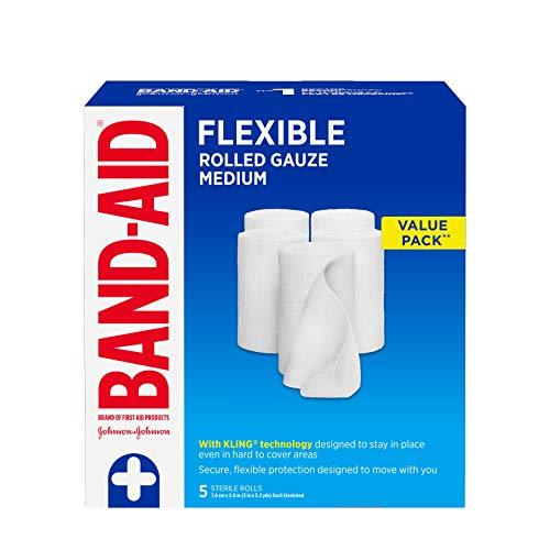 Band-Aid Lot de 5 rouleaux de bandage de gaze pour premiers secours 7,6 cm par 3 m