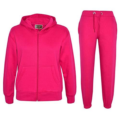 Kids Girls Boys Plain Tracksuit Hooded Hoodie Bottom Jog Suit Joggers New Age 7 8 9 10 11 12 13 Years Fuchsia Pink 7 8 Years