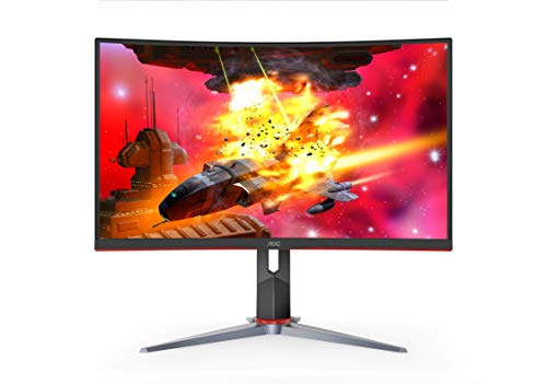"AOC CQ32G2S 32"" Curved Frameless Gaming Monitor 2K QHD, 1500R Curved VA, 1ms, 165Hz, FreeSync, Height adjustable, 3-Year Zero Dead Pixel Guarantee"