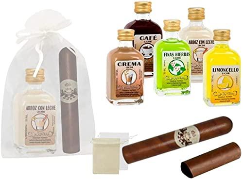 Lote de 15 Botellas de Licores'La Rivera'con Puros de Chocolate en Bolsas de Tull Lisas. Detalles de Bodas y Eventos.