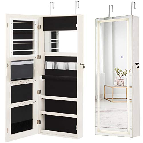 Giantex Jewelry Cabinet Box Armoire Door Wall Mount Lockable Touch Screen Light Built-in Zipper Pocket Inside Makeup Mirrored Storage Jewelry Box Armoires with Lipstick Holder (White)
