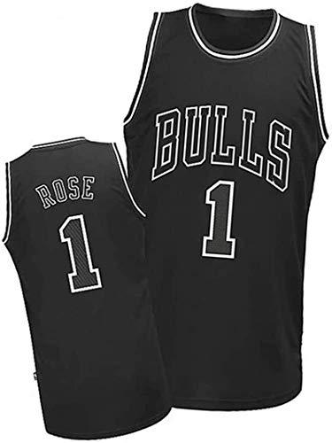 paglutaw Hombres Rose al aire libre Baloncesto Bull Entrenamiento Jerseys Transpirable NO.1 Negro Sportswear